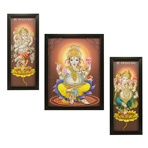3 PC Set Of Lord Ganesha Paintings 1006 Without Glass 5.2