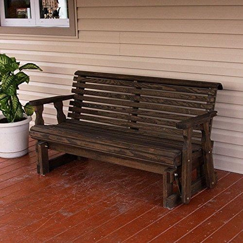[Amish Heavy Duty 800 Lb Roll Back Pressure Treated Porch Glider (5 Foot, Dark Walnut Stain)] (Back Porch Glider Bench)