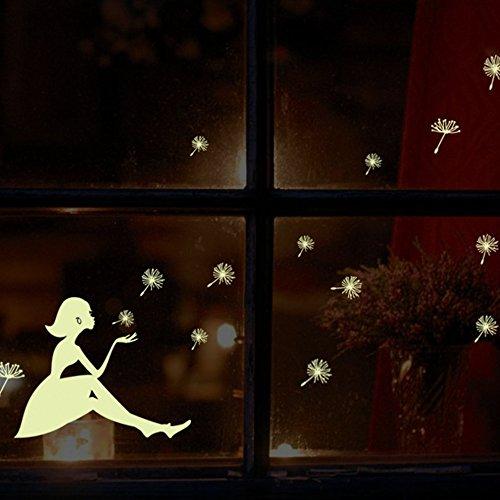 Apellin Glow in Dark Wandsticker Pusteblume Mädchen Leuchtend Fluoreszierende Aufkleber Wandaufkleber Wandbild Kinderzimmer Home Decor