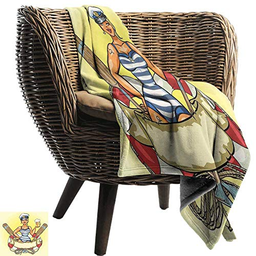 Couch Blanket Girls Pin Up Sexy Sailor Girl Lifebuoy with Captain Hat and Costume Glass of Beer Feminine car/Airplane Travel Throw 60