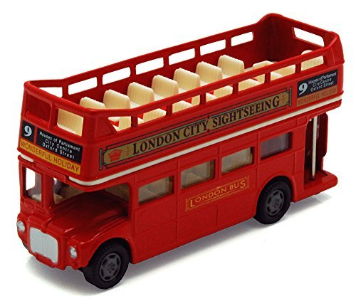 Motor Max London Double Decker Bus Open Top, Red - Motormax 76008 - 4.75 Diecast Model Toy Car ()