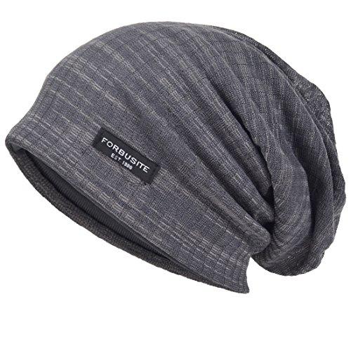 VECRY Men Slouch Hollow Beanie Thin Summer Cap Skullcap (Stripe Grey1)