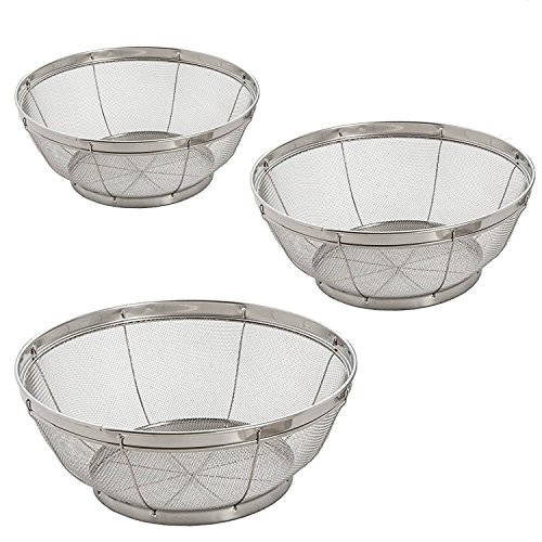 - 3 Piece U.S. Kitchen Stainless Steel Colander Set / Fine Mesh Net Quality Stainless Steel Kitchen Sieve Strainer for Straining, Draining Vegetable Spaghetti ~ small / medium / large colander - CAFOLO