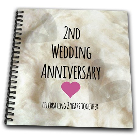 3dRose Db 154429 1 2Nd Wedding Anniversary Gift Cotton Celebrating 2 Years Together Second Anniversaries Two Yrs Drawing Book 8 By Inch