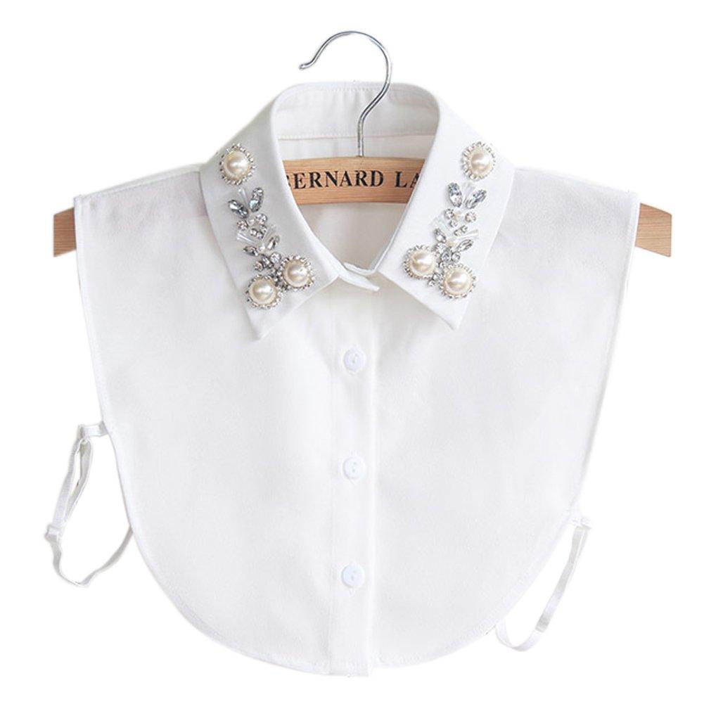 BeToper Frauen Kragen Abnehmbare Hälfte Shirt Bluse In Baumwolle Weiß (Weiss)   Amazon.de  Sport   Freizeit 048ceccce9