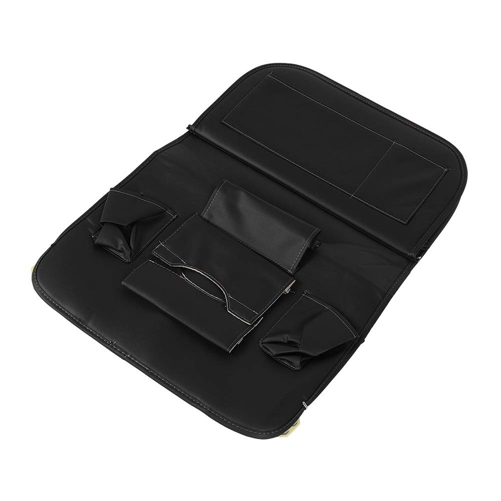 Car Seat Organizer - Multi-Purpose Leather Backseat Organizer PU Leather Storage Organizer Tray Pouch 2pcs Black by Delaman (Image #3)