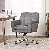 Serta Ashland Home Office Upholstered Chair with Mid Century Modern Design, Twill Fabric, Gray