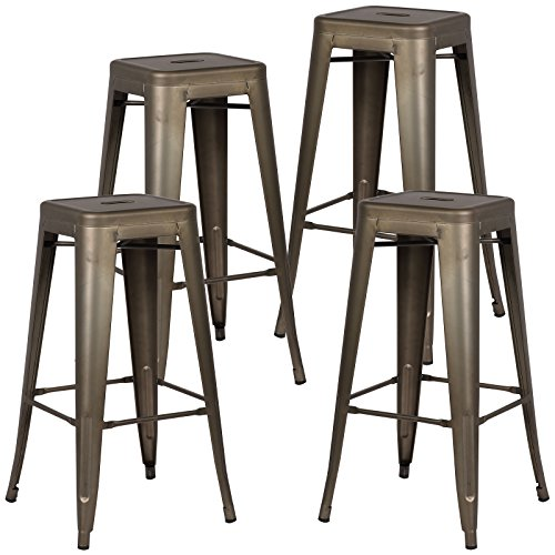 Poly and Bark Trattoria Bar Stool in Bronze Set of 4