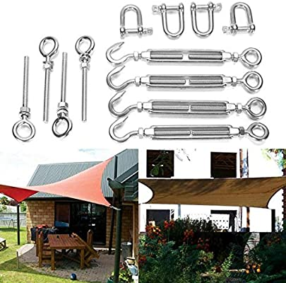 12 Pcs Stainless Steel Sun Sail Shade Garden Canopy Fixing Fittings Hardware Kit