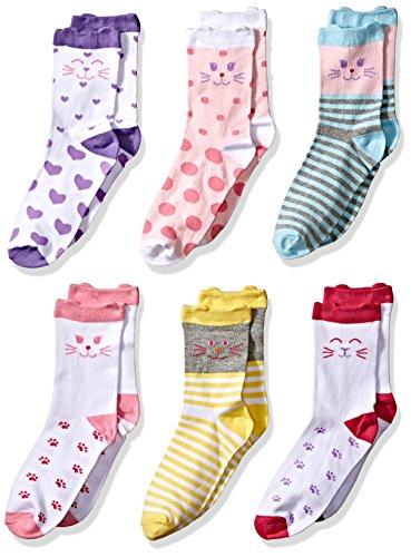 Jefferies Socks Girls Little Novelty Cats Crew Socks 6 Pair Pack