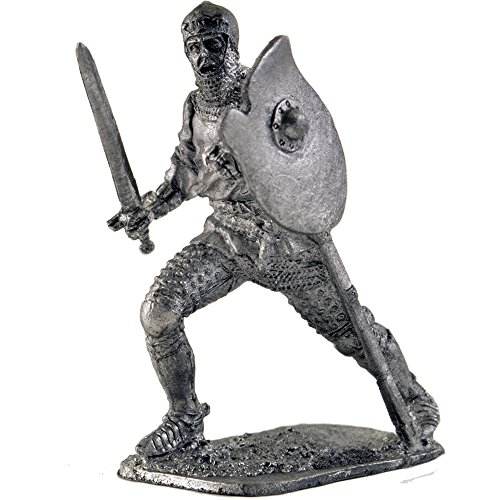 Medieval Knight, 15th Century. Metal Sculpture. Collection 54mm (Scale 1/32) Miniature Figurine. Tin Toy Soldiers ()