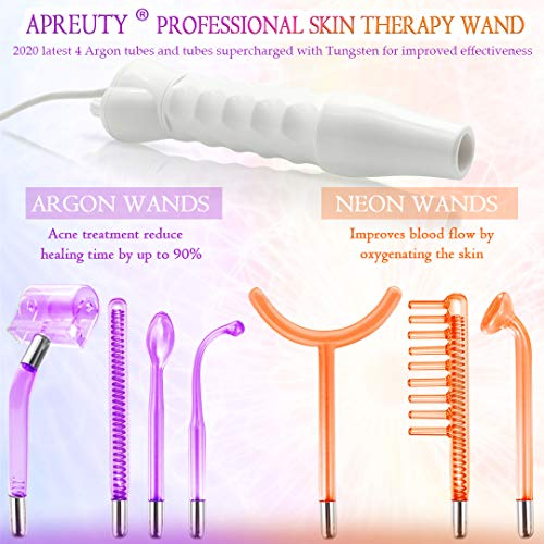 High Frequency Facial Machine, APREUTY Professional Portable Handheld High Frequency Facial Wand Skin Therapy Machine w/ 7Pcs Neon & Argon Wands for Acne Treatment Skin Tightening Wrinkles Remover