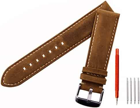 Ritche Leather strap Replacement Watch Bands Straps 20mm-Brown