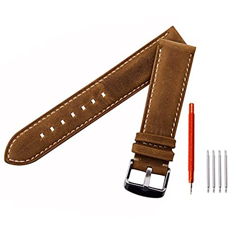 Ritche Leather strap Replacement Watch Bands Straps 22mm-Brown (Mens Strap Watches)