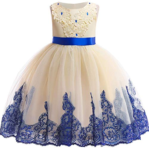 Baby Girls 3D Flower Embroidery Silk Princess Dress for Wedding Party Kids Dresses,Yellow1,6]()