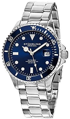 Stuhrling Original Men's 792.02 Aquadiver Analog Display Automatic Self Wind Silver Watch - Automatico Blu Mens Watch