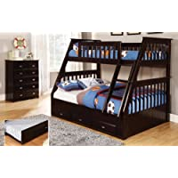 Twin Over Full Bunk Bed with 3 Drawers, Desk, Hutch, Chair and Entertainment Dresser in Espresso Finish
