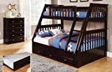Twin Over Full Bunk Bed with Trundle, Desk, Hutch and Chair in Espresso Finish