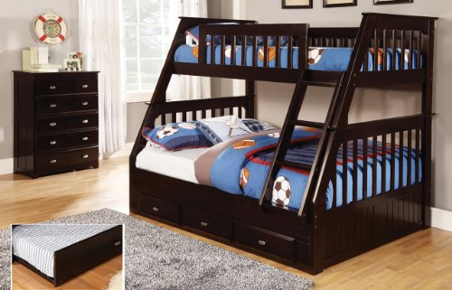 Discovery World Furniture Twin Over Full Bunk Bed with Trundle, Desk, Hutch, Chair and Chest in Espresso Finish Review