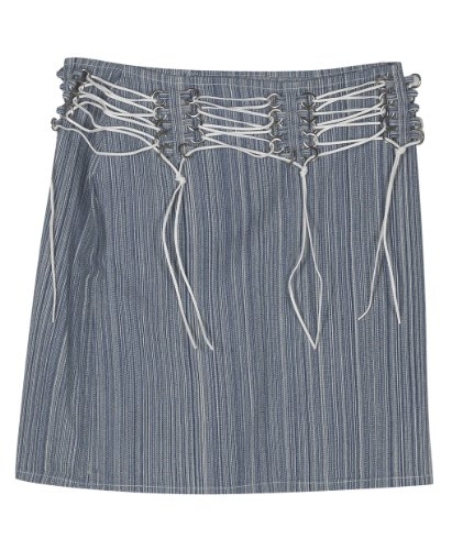 Plus Size Blue Stripe Denim Skirt --Size: 22 Color: Blue