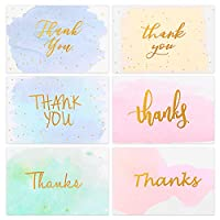 PartyKindom 48 Pack Thank You Cards, Gold Foiled Watercolor Greeting Cards Notes for Wedding, Bridal Shower, Baby Shower, Christmas, Business, 6 Design