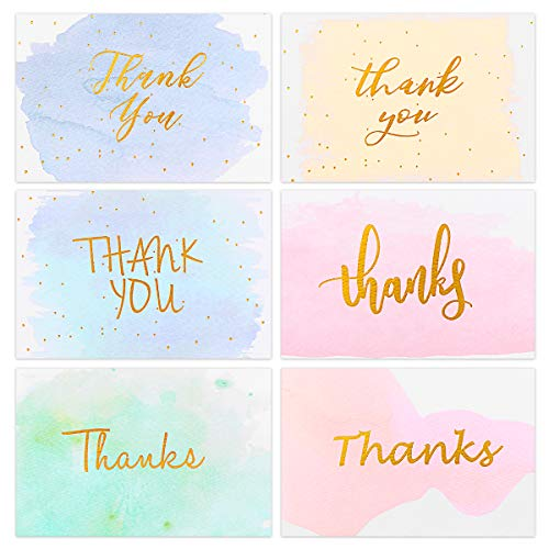 Partykindom Thank You Cards 6 Design - 48 Gold Foiled Watercolor Bulk Thank You Notes Greeting Cards with Envelopes for Wedding, Baby Shower, Bridal shower, Anniversary, Graduation, Business, 4x6 Inch