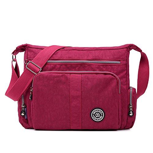 MeCooler Bolso Bandolera Mujer Ligero Bolsos Casual Escolares Bolsos de Moda Impermeable Bolsas de Deporte Bolsas de Viaje Escuela para Sport Tablet Rojo 3