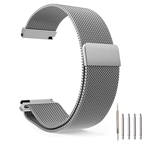 Top Plaza Fully Magnetic Closure Clasp Mesh Loop Milanese Stainless Steel Metal Replacement Band Bracelet Strap for Men's Women's Watch