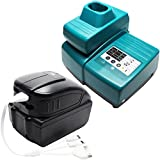Replacement Makita BDA350 Battery & Charger with USB Power Source & Multiple USB Cable - For Makita 18V Lithium-Ion Power Tool Battery (3000mAh, Lithium-Ion)