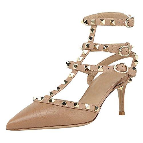 MINIVOG Women's Rivets Buckle Studded T-Strap Pointed-Toe Dress Sandals Alpaca PU US9