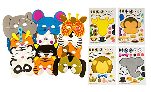 48 Piece Animal Sticker & Foam Mask Set: 24 Make-A-Zoo Sticker Sheets & 24 Assorted Form Animal Masks Value Party Favor Set - Great For A Zoo And Safari Theme Birthday Party - M & M Products Online