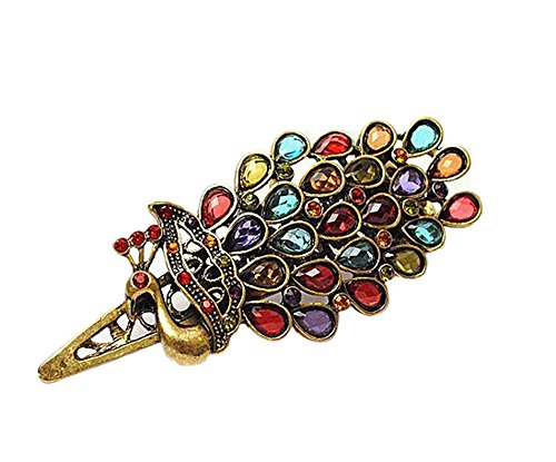 Lovely Vintage Crystal Peacock Hair Clip,Colorful