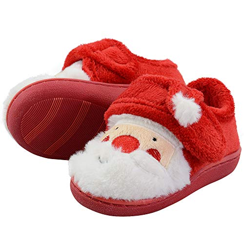 LA PLAGE Boys Slippers Comfortable and Warm Santa Claus House Shoes Size 4 Santa Claus ()