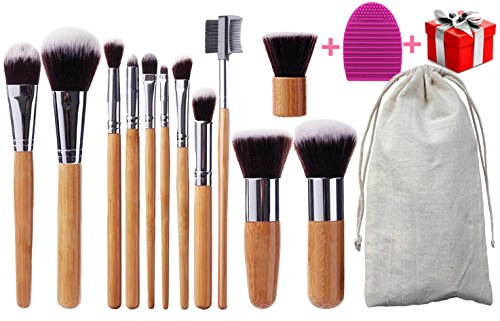 BEAKEY Makeup Brush Set Bamboo Handle Premium Synthetic Kabuki Foundation Blending Blush Eyeshadow Concealer Powder Brush with 1 Brush Egg & 1 Secret Gift (12+2 Pcs)