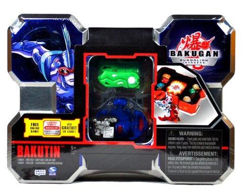 Spin Master Year 2010 Bakugan Gundalian Invaders Box Set - Blue BAKUTIN with Aquos Blue STRIKEFLIER, Copper BATTLE TURBINE Gear, 5 Ability Cards and 5 Metal Gate Cards Plus Hidden DNA Code (Gear Bakugan Toys)