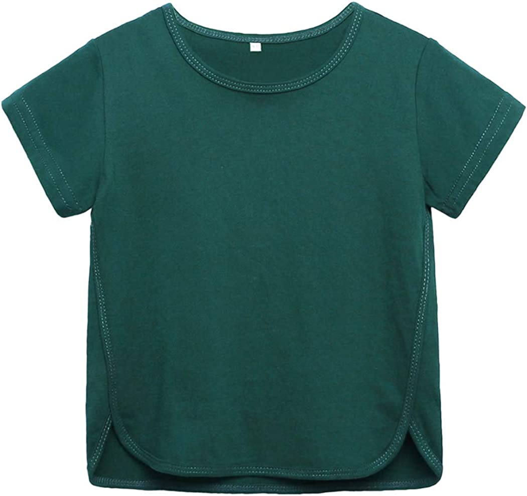 Mary ye Boys Cotton Short Sleeve T-Shirt Kids Summer Solid Color Tee Shirt Tops