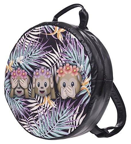 Kukubird Tropical Palm monos diseño patrón redondo mochila