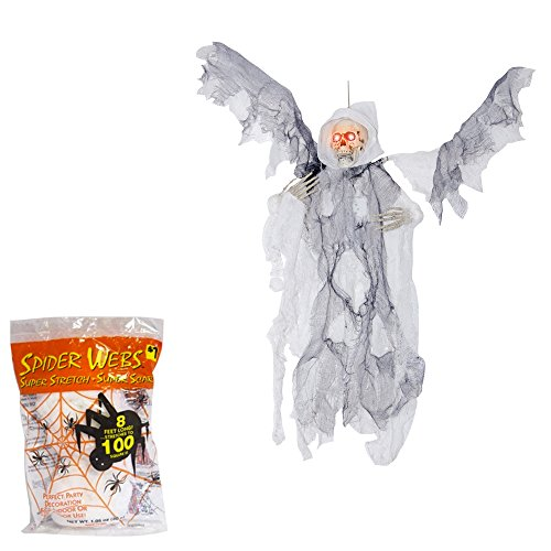 Prop Flying Reaper With Wings (Halloween Decoration Animated Reaper | Sound Activated Flying Prop | 21 Inches with Spider Webbing Decoration - White)