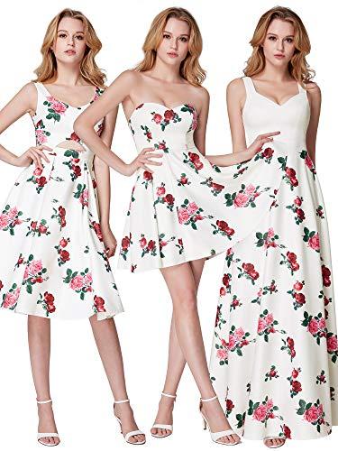 De pretty Cocktail Fleurs Longue A Ever Robe Imprimé Blanc Soirée 07218 Femme Zn1xwTWR