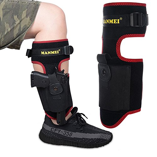 Ankle Gun Holster Concealed Carry Tactical Pistol Handgun revolver Mag pouch IWB Glock M P S W Wesson Smith J-frame Sig Sauer Walter walther Shield Springfield Kimber Bersa Kel-Tec Taurus Luger,RED (Officer Military Magazine)