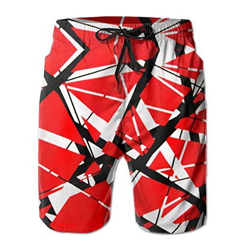 (Van A Halen Men Summer Custom Beach Shorts with Mesh Lining Summer Quick Dry Printed M White )
