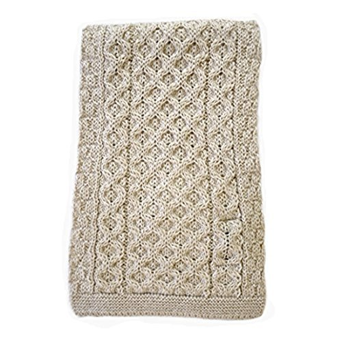 Merino Wool Honeycomb Knit Irish Scarf - Parsnip