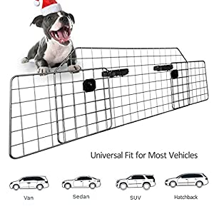 Sailnovo Dog Barrier for Car SUV Vehicles, Adjustable Pet Barrier Wire Mesh Dog Car Barrier for Cargo Area - Universal Fit 49