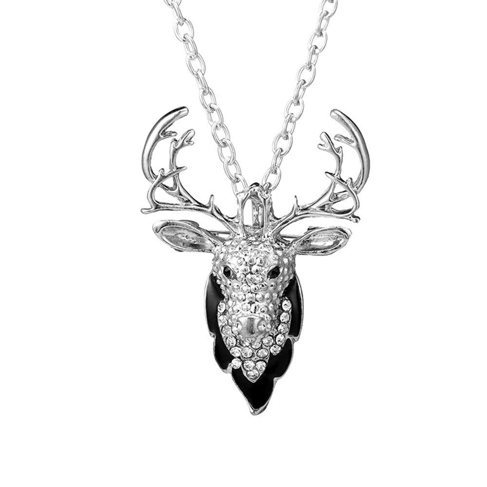 Hot Rose Red Crystal Elk Deer Head Rhinestone Pendant Sweater Chain Necklace Necklaces Jewelry for Women Girls Mom Bridesmaid Gift Personalized Long Chain Pendant Necklace