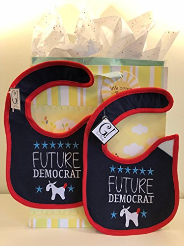 Baby/Toddler Bib Gift Set Bundle. BOY Or Girl? Republican Or Democrat? Includes: Two (2) Unisex Cloth Embroidered Bibs, One (1) Gender Neutral Gift Bag with Tissue Paper. (Democrat) -