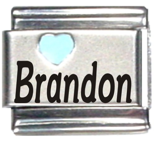 - Brandon Light Blue Heart Laser Name Italian Charm Link