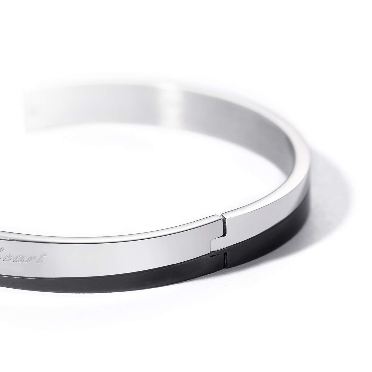 PAPAGENA Couple Bangles Titanium Steel CZ Bracelets for Men Women Rose Gold Black Bracelets for His and Her