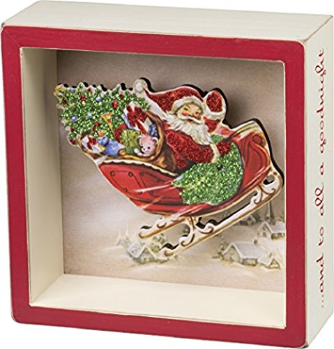 Primitives by Kathy All a Goodnight Shadow Box Sign, Santa Claus in Sleigh, Retro Holiday Decor with Glitter, 5