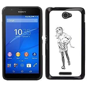 iKiki Tech / Estuche rígido - Bosquejo blanco minimalista Negro - Sony Xperia E4