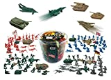Liberty Imports Army Men Military Action Figures Bucket Playset | World War II Toy Soldiers Combat Special Forces (Soldiers & Vehicles)